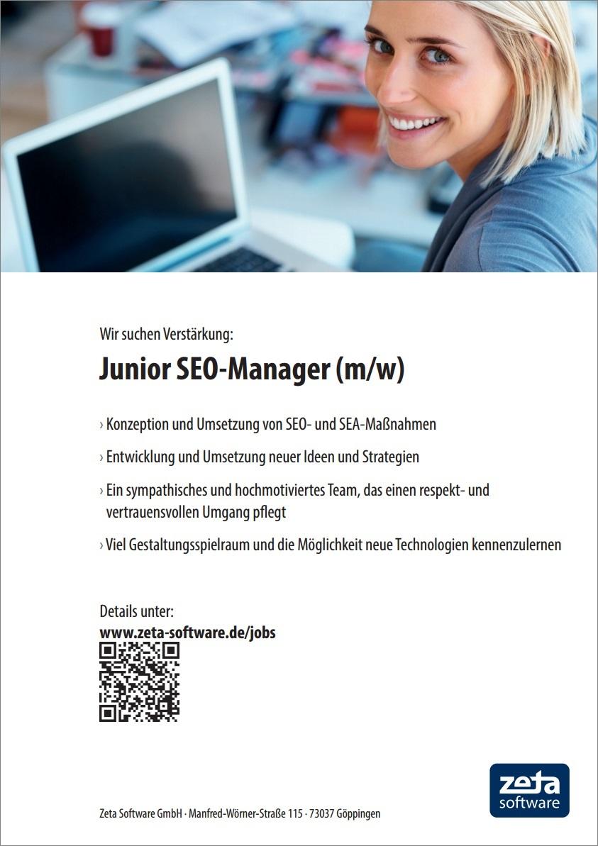 Stellenangebot in 73037 Göppingen: Junior SEO-Manager (m/w)